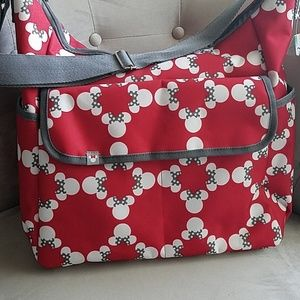 NEW Disney Minnie Mickey Mouse Diaper Bag Red Gray